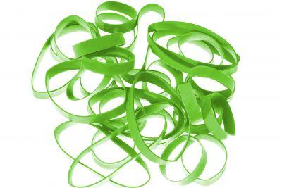 Synthetikbänder H+D LatexFree®, limonen grün 110 mm Ø x 2 x 1 mm lose geschüttet Pantone 375 U