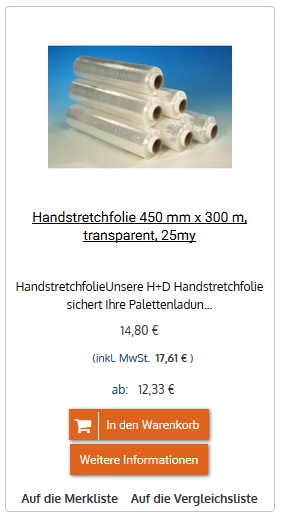 Handstretchfolie 450 mm x 300 m, transparent, 25my