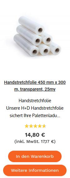 Handstretchfolie 450 mm x 300 m, transparent, 25my