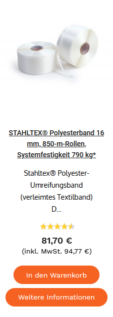 STAHLTEX® Polyesterband 16 mm, 850-m-Rollen, Systemfestigkeit 790 kg*